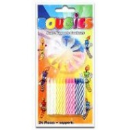 Bougies avec support couleurs assorties
