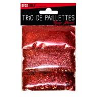 Trio de paillettes , 3 sachets de paillettes nuancées rouge