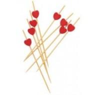 100 piques coeur rouge en bambou 7cm