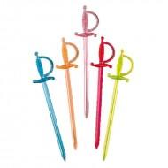 500 piques en plastique épée assortiement de couleurs 7cm
