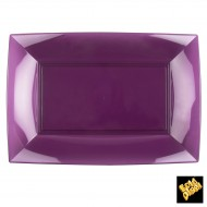 Assiettes rectangle, 34,5 x 23 cm, prune transparent