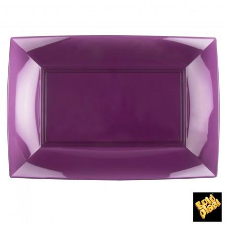 Assiettes rectangle, 34,5 x 23 cm, prune transparent