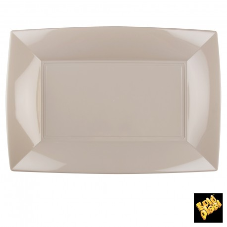 Assiettes rectangle, 34,5 x 23 cm, taupe