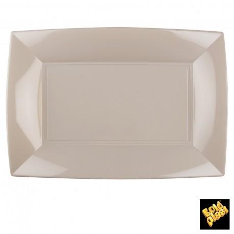 Assiettes rectangle, 34,5 x 23 cm, taupe