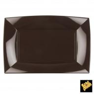 3 Teller rechteckig, 34,5 x 23 cm, Schokolade