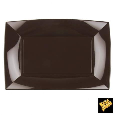 Assiettes rectangle, 34,5 x 23 cm, chocolat