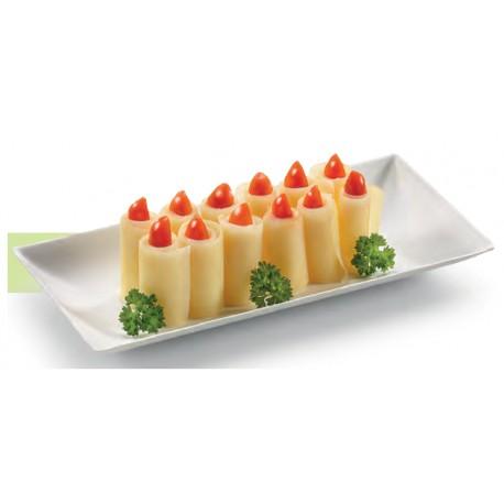 50 Assiettes rectangles Komodo, canne à sucre, 27 x 9 cm