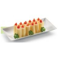 50 Assiettes rectangles Komodo, canne à sucre, 18 x 9 cm