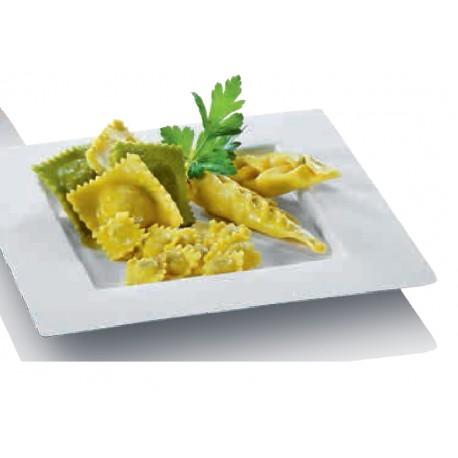 50 Assiette carrées Dedra, canne à sucre, 22,4 x 22,4 cm