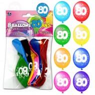 Sachet de 8 ballons 80 ans