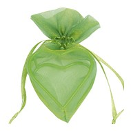 Sachet de 4 cœurs armurés, 5x5x3 cm, vert,organdi&métal