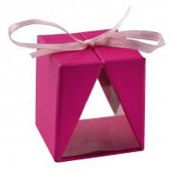 4 boîtes cadeau, fuchsia, 3,5x3,5x4 cm, carton & pvc, ruban fuchsia