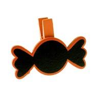 Bonbon sur pince, bois, 5 x 3,7 cm, sachet de 6 pièces, orange