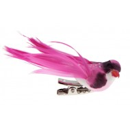 Petit oiseau sur pince , plumes, 6,5 x 1,8 cm, boîte de 4 pièces, fuchsia