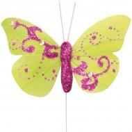 Papillon pailleté sur tige, plumes, 6x5 cm, sachet de 6 pièces, vert