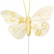 Papillon pailleté sur tige, plumes, 6x5 cm, sachet de 6 pièces, ivoire