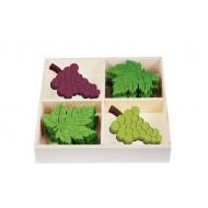 1 boîte de 12 décos de feuilles de vigne, 4x3 cm