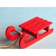 Luge rouge à suspendre, dimensions : 11x5 cm