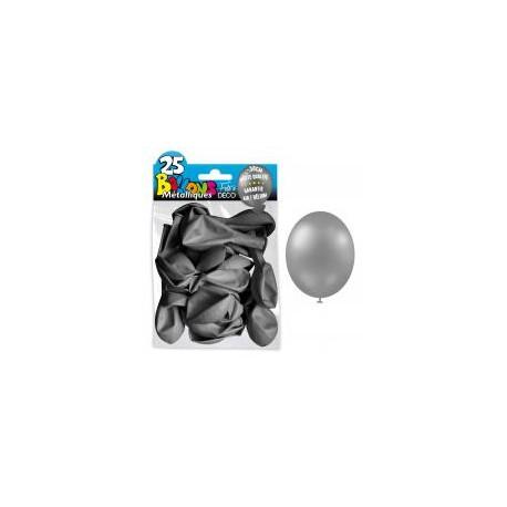 25 Ballons crystal, metallisiert, silber