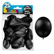25 ballons métal noir, ø 30 cm