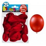 25 Ballons crystal, metallisiert, rot