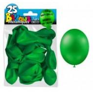 25 ballons métal vert, ø 30 cm