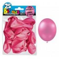 25 Ballons crystal, metallisiert, pink