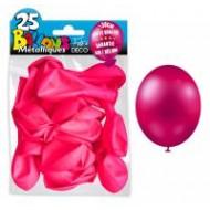 25 ballons métal rose fuchsia, ø 30 cm