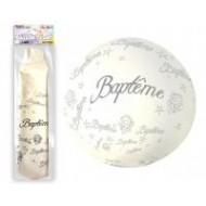 "1 Gigant Ballon ""Baptême"" weiss Ø1m16"