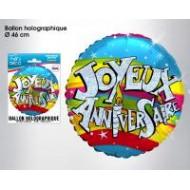1 Ballon hélium joyeux anniversaire, ø 46 cm