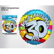 Ballon hélium 30 ans