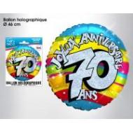 Ballon hélium 70 ans, ø 46 cm