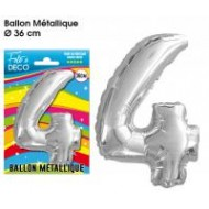 1 Ballon métallique Chiffre 4