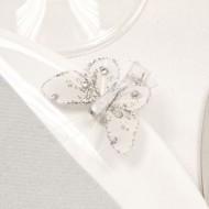 Papillons avec strasses sur pince blanc (4x)