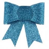 Nœud pailleté sur pince, PVC, 6,5x6,5 cm, turquoise, sachet de 2 pièces