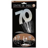 """Centre de table """" 70 ans"""", palmier argenté"""