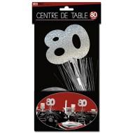 """Centre de table """" 80 ans"""", palmier argenté"""
