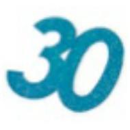 Chiffres autocollant paillettes, 30 ans, turquoise