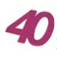 Glitzeraufkleber, 40 Jahre, Fuchsia