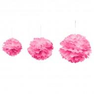 Déco de salle pompom tailles, ø 20, 30 et 40 cm, à suspendre, fuchsia