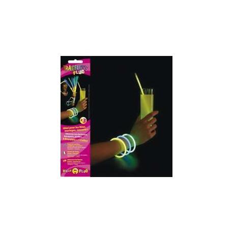 Tube de 100 bracelets fluos 5 mm x 200 mm assortis 20x5 couleurs