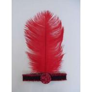 Bandeau années 20 , plume rouge 32 cm, adulte