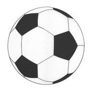 6 Sets de table rond foot ballon noir et blanc, ø 34 cm