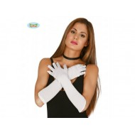 Longs gants blanc, couleur unie, 60 cm de long