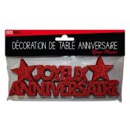 """Déco de table """"joyeux anniversaire"""", 3D, pailleté,rouge passion"""
