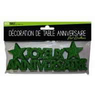 """Déco de table """"joyeux anniversaire"""", 3D, pailleté,vert excellence"""