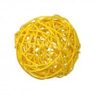 Assortiment de boules rotin, 3, 4 & 7 cm, rotin, sachet de 10 pièces, jaune