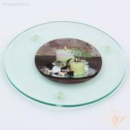 1 support rond pour bougies, diam. 12 cm, transparent