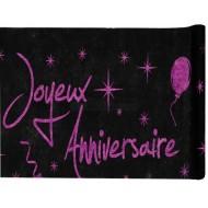 """Chemin de table """"joyeux anniversaire"""", noir et fuchsia brillant, 29 cm x 5 mètres"""