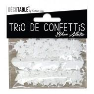 Trio de confettis, ronds, étoiles et coupes, blanc albâtre